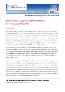 Theo W. Länge: Bürgerschaftliches Engagement und Politische Bildung - Eine Verbindung mit Perspektive